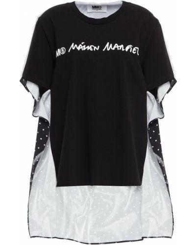 Czarny t-shirt bawełniany Mm6 Maison Margiela
