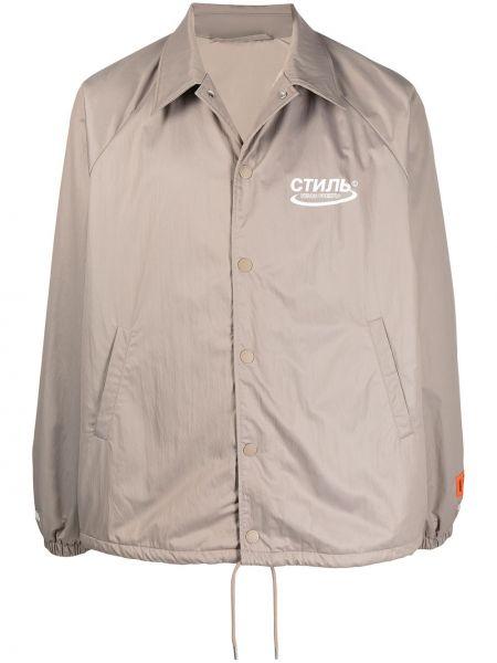С рукавами бежевая длинная куртка с воротником Heron Preston