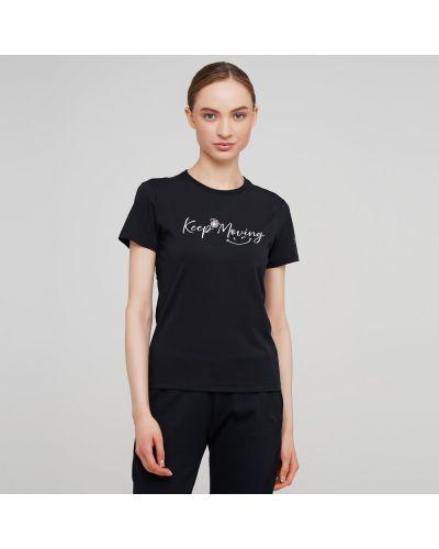 Свободная черная футболка с вырезом Anta
