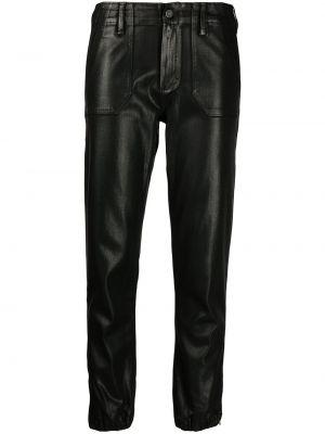 Хлопковые облегающие черные джинсы Paige