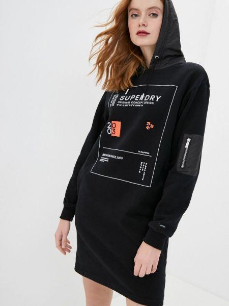 Платье платье-толстовка черное Superdry