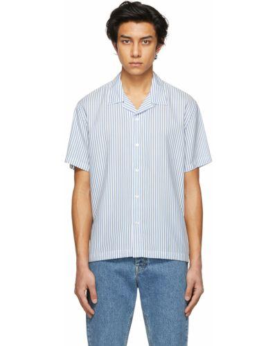 Biała koszula krótki rękaw w paski Harmony