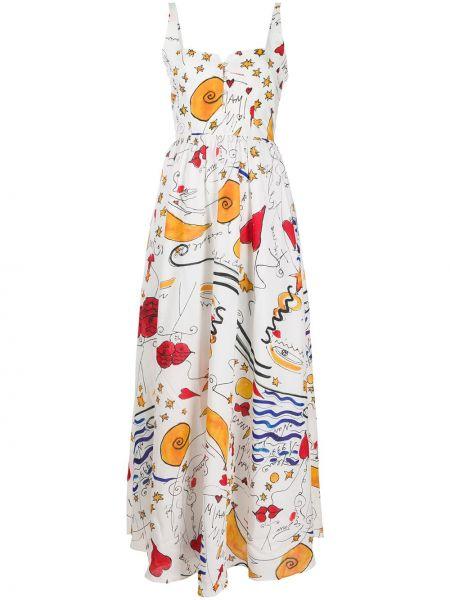 Платье с открытой спиной на пуговицах с рисунком без рукавов Esteban Cortazar