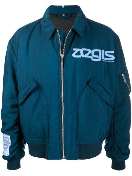 Niebieska długa kurtka bawełniana z długimi rękawami Mcq Alexander Mcqueen