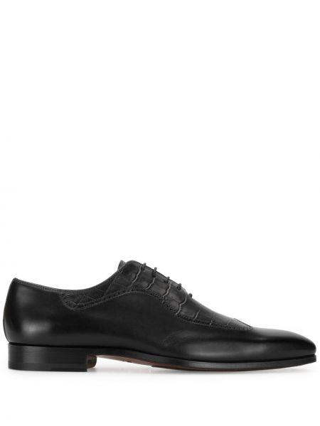 Кожаные оксфорды с тиснением на шнуровке на каблуке Magnanni