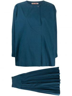 Синяя юбка макси с вырезом на пуговицах круглая Issey Miyake Pre-owned