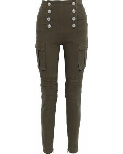 Зеленые хлопковые брюки Balmain