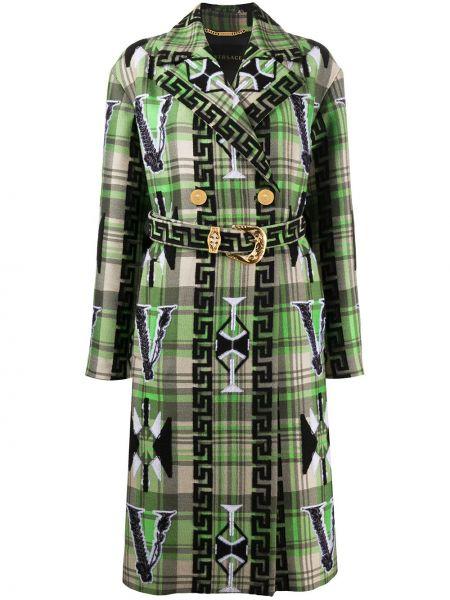 Шерстяное длинное пальто с капюшоном двубортное Versace