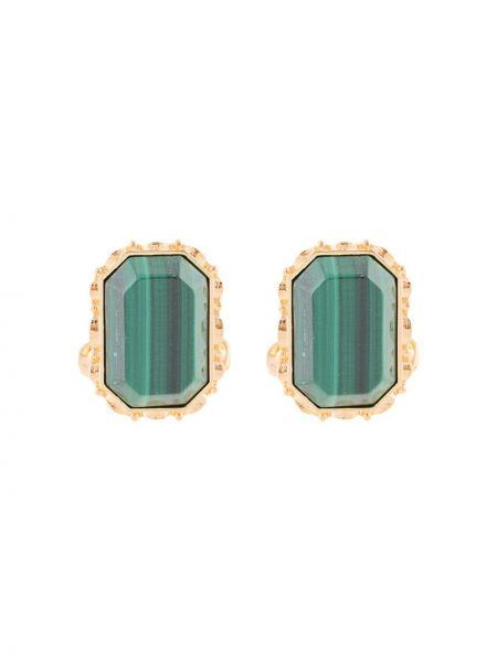 Зеленые запонки с камнями на пуговицах Dolce & Gabbana