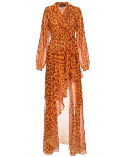 Оранжевое платье макси с запахом с V-образным вырезом с завязками Patbo