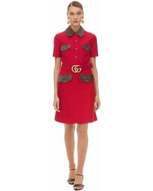 Платье мини на пуговицах леопардовое Gucci