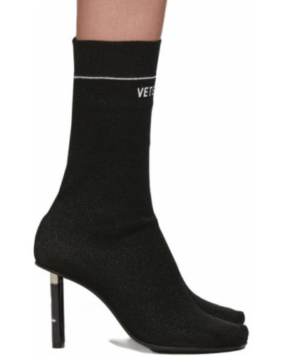 Сапоги на высоком каблуке черные на каблуке Vetements