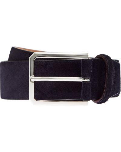 Синий кожаный ремень с пряжкой Santoni