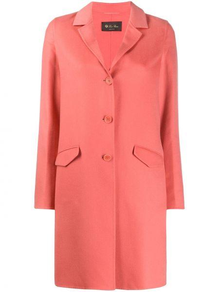 Розовое кашемировое длинное пальто с капюшоном Loro Piana