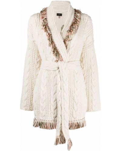 Шерстяное длинное пальто с лацканами с бахромой Alanui