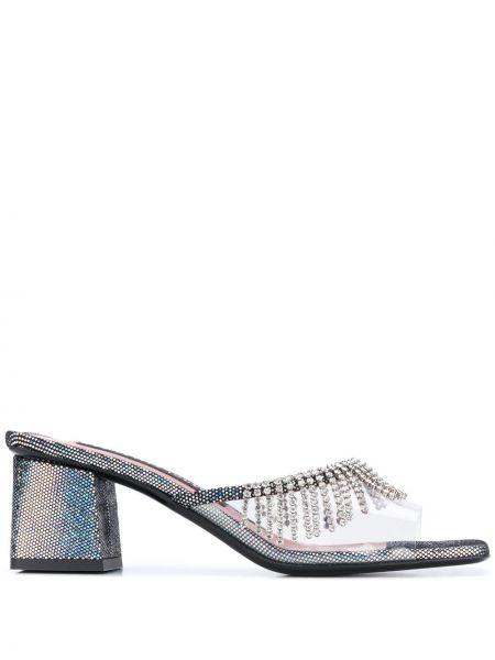Кожаные серебряные мюли на каблуке квадратные Les Petits Joueurs