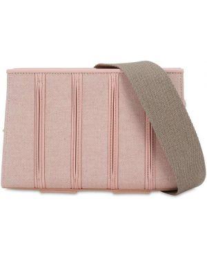 Розовая кожаная сумка из канваса на молнии Max Mara
