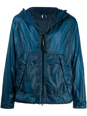 Синяя длинная куртка с капюшоном с длинными рукавами C.p. Company
