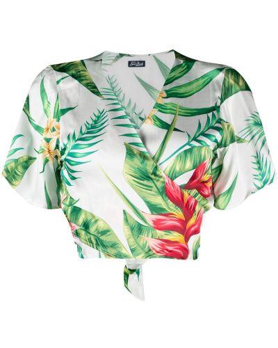 Белая блузка с короткими рукавами с запахом Mc2 Saint Barth
