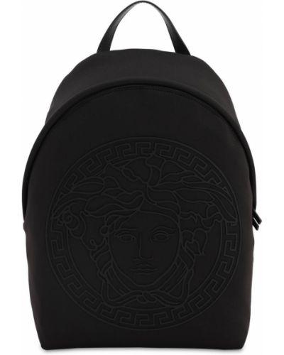 Czarny plecak skórzany z printem Versace