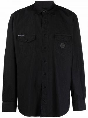 Czarna koszula jeansowa bawełniana z długimi rękawami Philipp Plein