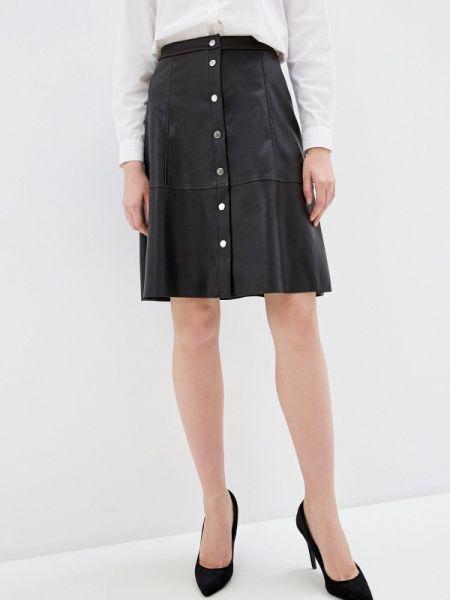 Кожаная юбка черная весенняя Jacqueline De Yong