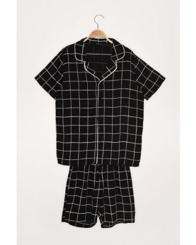 Czarna piżama z wiskozy Trendyol