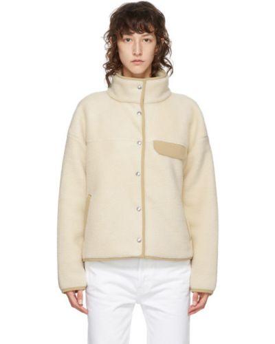 Флисовая белая длинная куртка с воротником The North Face