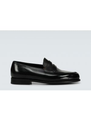 Czarne loafers skorzane John Lobb