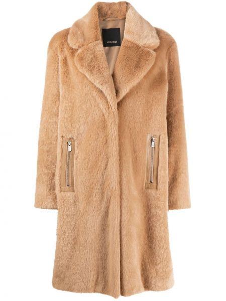 Klasyczny klasyczny płaszcz z kołnierzem z kieszeniami z wiskozy Pinko