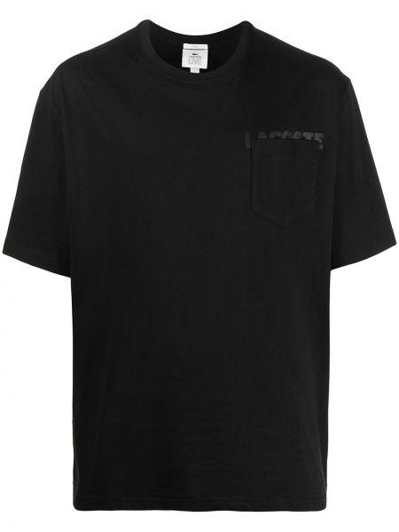 Czarny t-shirt bawełniany z printem Lacoste Live