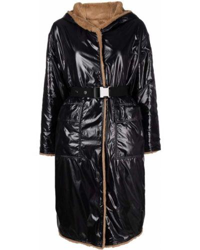 Черное пальто с накладными карманами Moncler