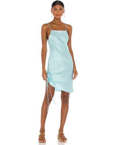 Niebieska satynowa sukienka mini z falbanami Dannijo