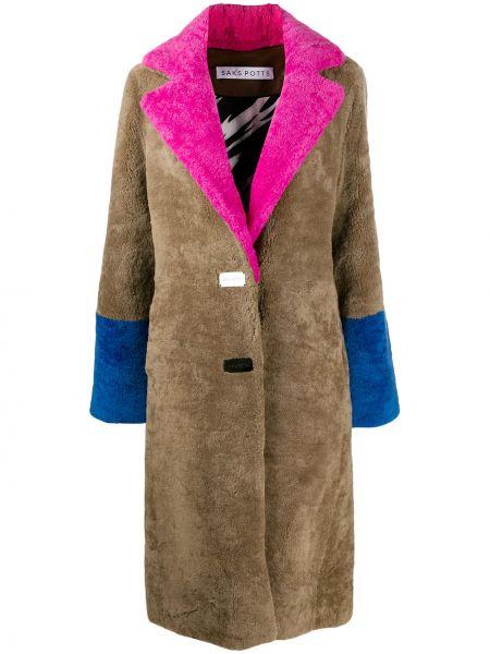 Длинное пальто из овчины на пуговицах с лацканами Saks Potts
