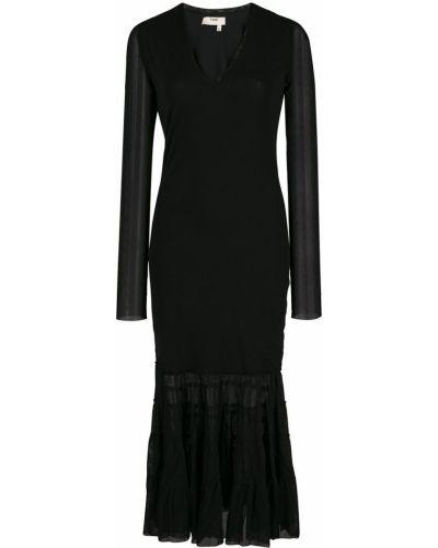 Черное платье миди прозрачное на молнии Fuzzi