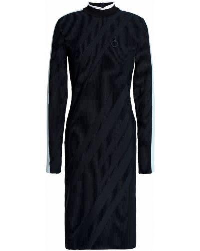 Шерстяное платье макси в полоску с длинными рукавами Versace Collection