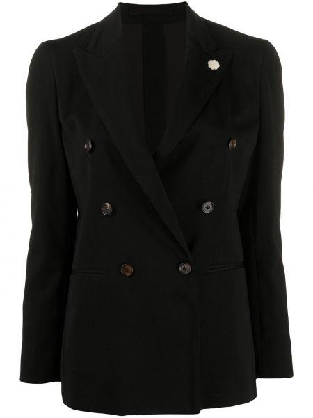 Черный удлиненный пиджак двубортный с карманами Lardini
