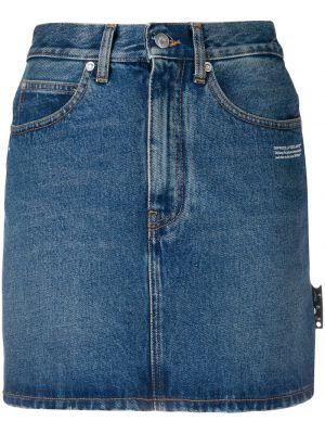 Хлопковая белая с завышенной талией джинсовая юбка Off-white