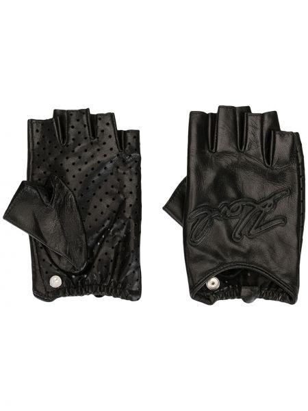 Czarne rękawiczki skorzane z haftem Karl Lagerfeld