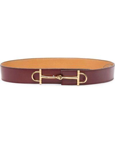 Красный кожаный ремень с пряжкой Hermès