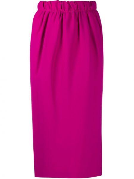 Розовая с завышенной талией юбка миди на молнии с разрезом N°21