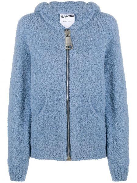 Шерстяная синяя вязаная куртка с капюшоном на молнии Moschino