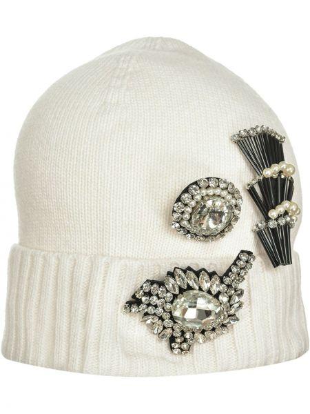 Prążkowana biała czapka wełniana Pinko