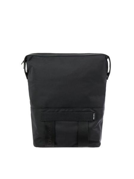 Czarny torba na ramię skórzany w paski Ck Calvin Klein