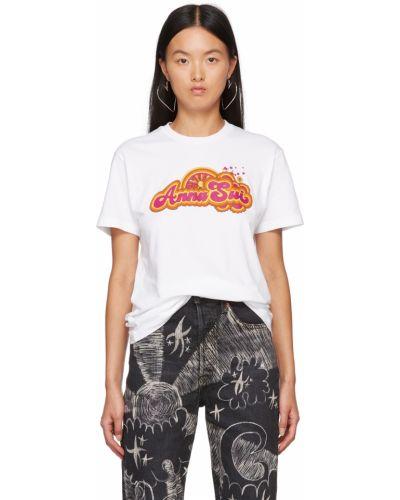 Белая футболка короткая Anna Sui