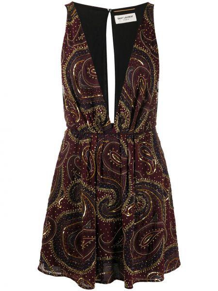 Платье мини с бисером с V-образным вырезом Saint Laurent