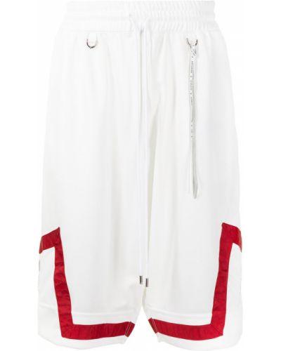 Białe szorty z wysokim stanem z printem Mastermind World