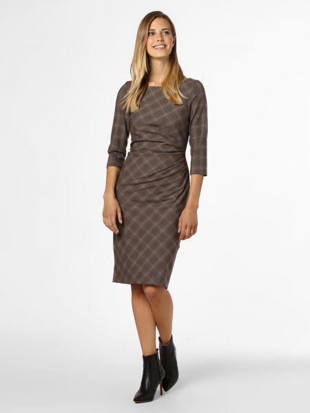 Brązowa sukienka midi w kratę Apriori