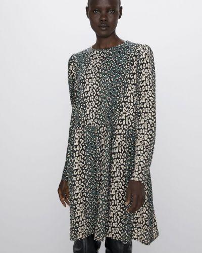 Платье с длинными рукавами - бежевое Zara