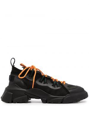 Czarne buty sportowe na obcasie Mcq